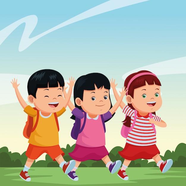 Écoliers, sourire, à, sacs à dos Vecteur gratuit
