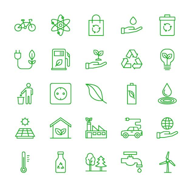 Écologie icon set Vecteur Premium