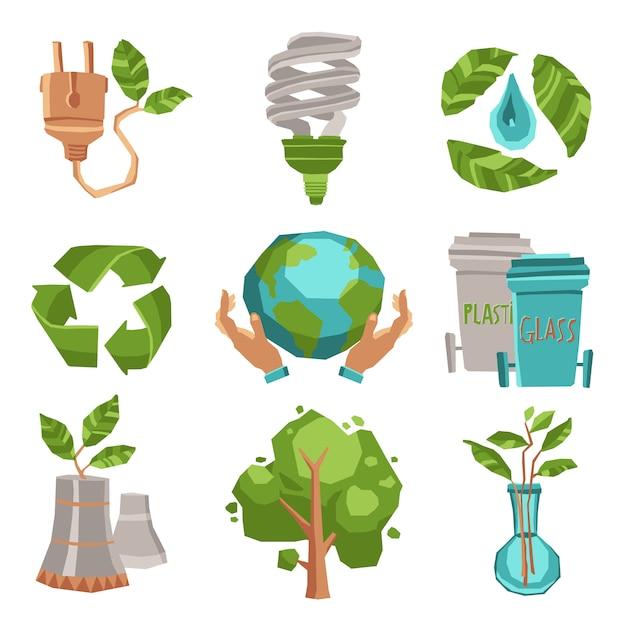 Écologie icons set Vecteur Premium
