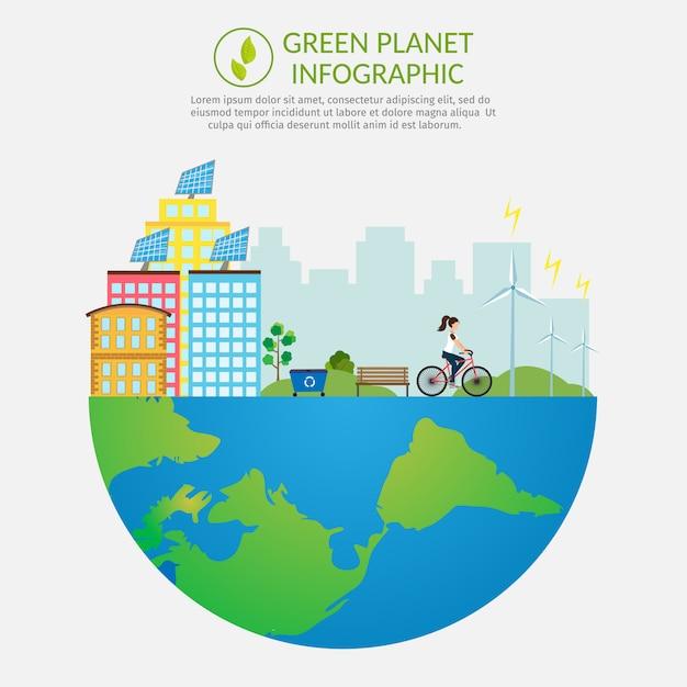 Écologie infographie vectorielle éléments illustration pollution de l'environnement. jeu de fond de vie de ville. Vecteur Premium