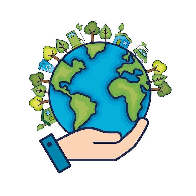 Ecologie planète terre à l'environnement soin Vecteur Premium