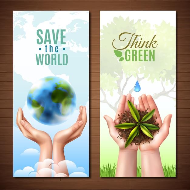 Écologie réaliste mains bannières Vecteur gratuit