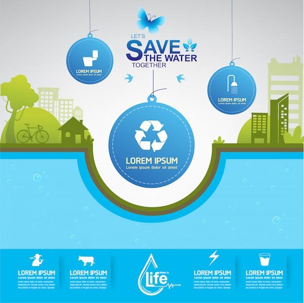 Ecologie Save Water Save The World Vecteur Premium