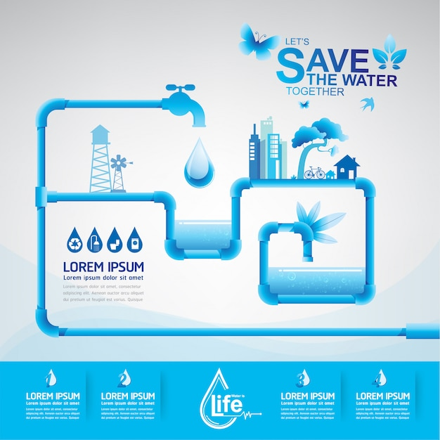 Ecologie Save Water Save The World Vecteur Premium