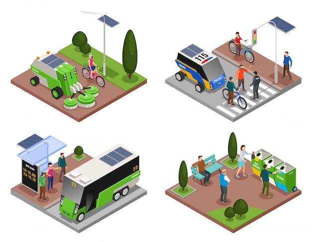 Écologie Urbaine Intelligente 4x1 Isométrique Ensemble De Quatre Compositions Avec Des Véhicules électriques Et Des Poubelles Vecteur gratuit