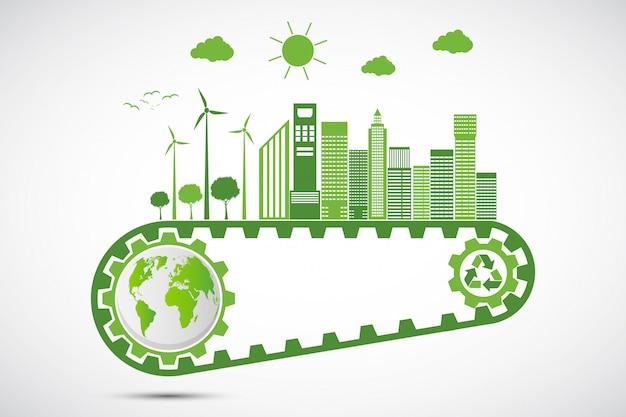 Ecology saving gear concept et développement environnemental durable de l'énergie Vecteur Premium