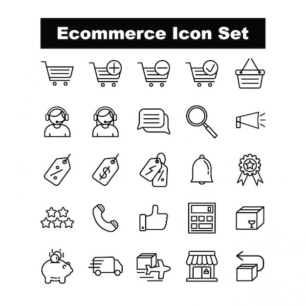 Ecommerce icon set vector - style de ligne Vecteur Premium