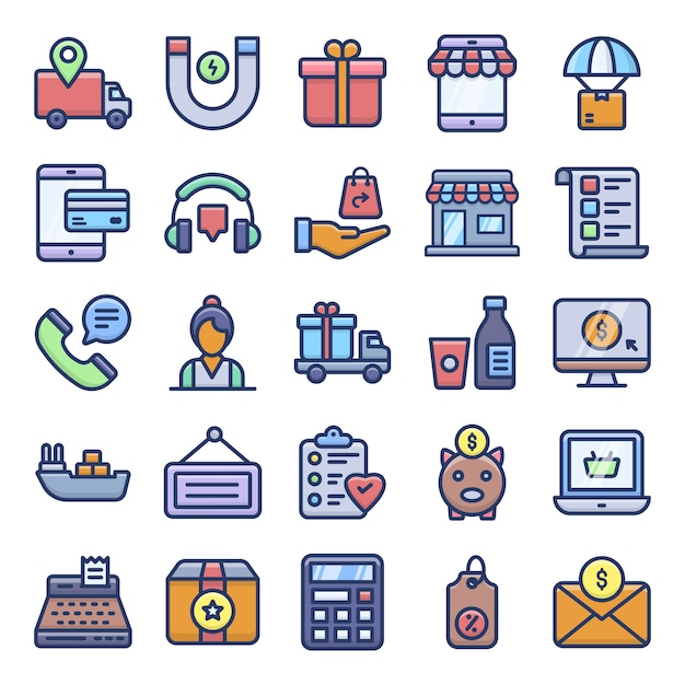 Ecommerce icons pack Vecteur Premium