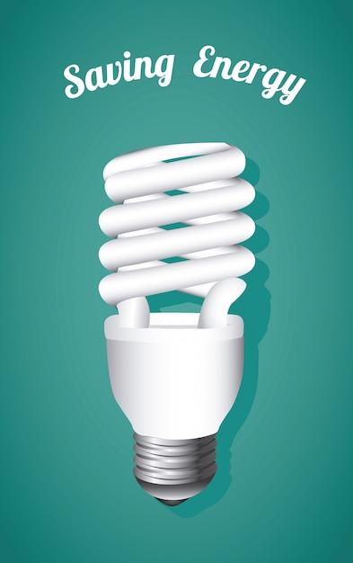 Économie d'énergie, ampoule sur bleu Vecteur gratuit