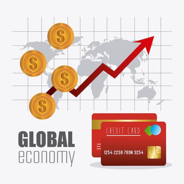 Économie mondiale, conception financière et commerciale. Vecteur gratuit