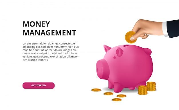 Économiser de l'argent dans les budgets d'investissement avec la main mettre la pièce d'or dans le financement de la tirelire rose 3d Vecteur Premium