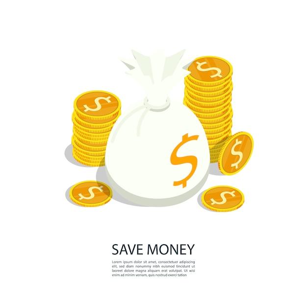 Économiser de l'argent sac de pièce d'or Vecteur Premium