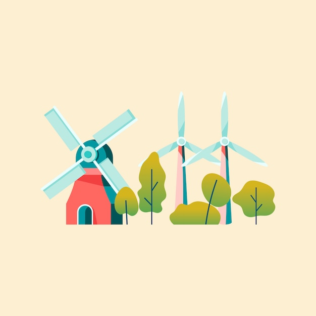 Économiser de l'énergie avec l'énergie éolienne Vecteur gratuit