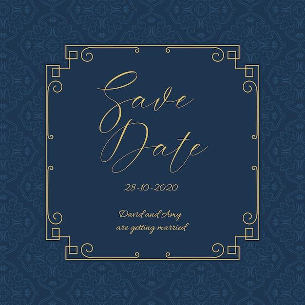 Économisez élégant La Conception D'invitation De Date Vecteur gratuit