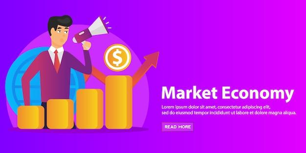 Économiste avec mégaphone, colonne de croissance économique et graphique de la productivité du marché. développement économique, classement de l'économie mondiale, concept d'économie de marché. Vecteur Premium