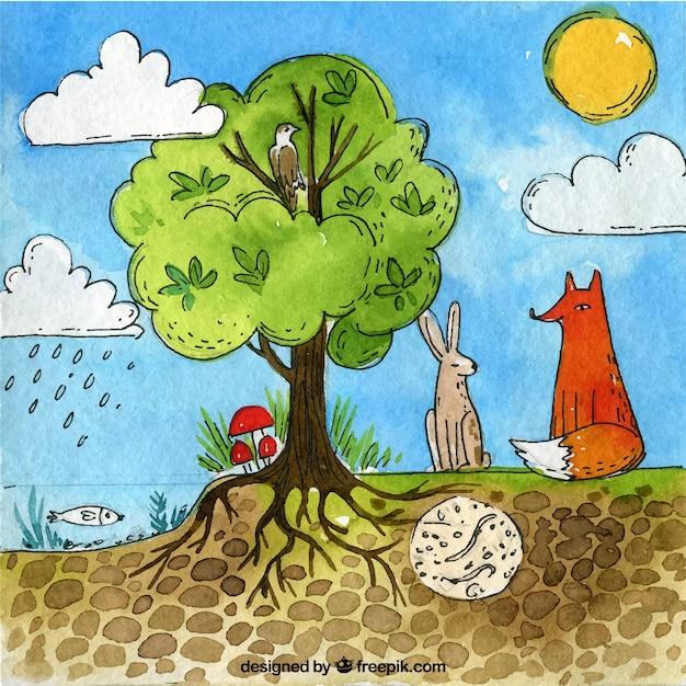 Ecosystème dessiné à la main et concept nature Vecteur gratuit