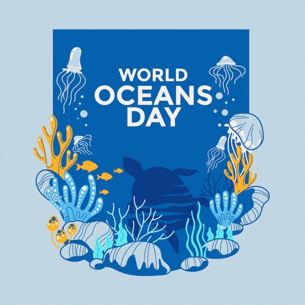 Écosystème Environnement Illustration Dédié à La Journée Mondiale De L'océan Vecteur Premium