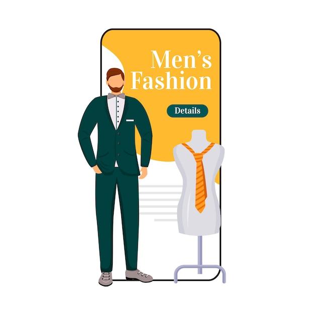 Écran De L'application Smartphone Mode Homme Dessin Animé. Vecteur Premium