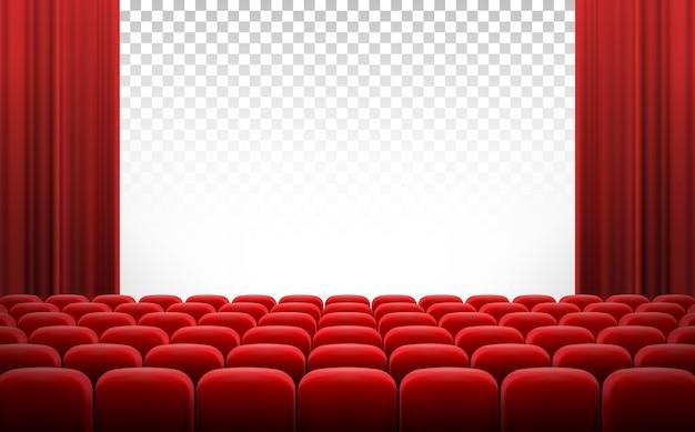 Écran de cinéma blanc avec des rideaux rouges et des chaises Vecteur Premium