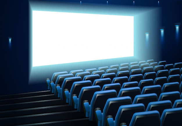 Écran de cinéma dans un public bleu Vecteur Premium