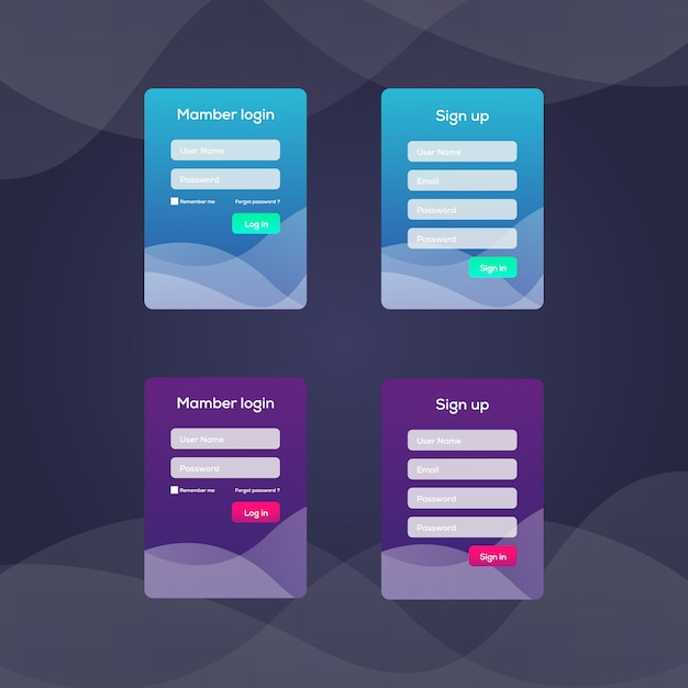 Écran de connexion et modèle de formulaire de connexion pour application mobile Vecteur Premium