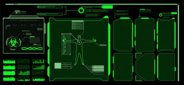Écran D'interface Hud Futuriste. Titres De Légendes Numériques. Hud Ui Gui éléments De L'écran De L'interface Utilisateur Futuriste Définis. écran De Haute Technologie Pour Les Jeux Vidéo. Conception De Concept De Science-fiction. Vecteur Premium
