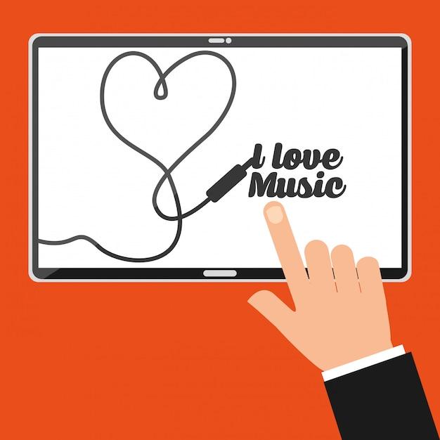 Écran de la main point tablette avec lettrage j'aime la musique Vecteur gratuit