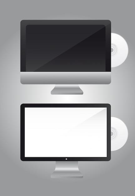 Écran ordinateur avec cd sur gris Vecteur Premium