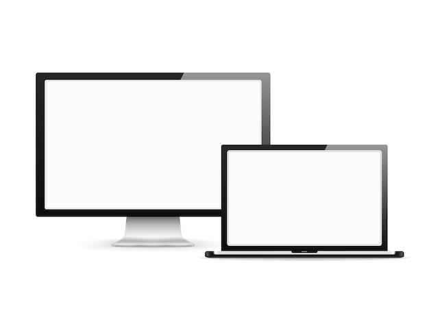 Écran d'ordinateur et ordinateur portable avec des écrans blancs vierges Vecteur Premium