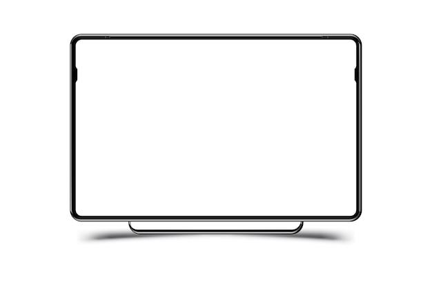 Écran d'ordinateur réaliste noir maquette Vecteur Premium