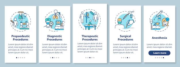 Écran De La Page De L'application Mobile D'intégration Des Types De Procédures Médicales Avec Des Concepts Vecteur Premium