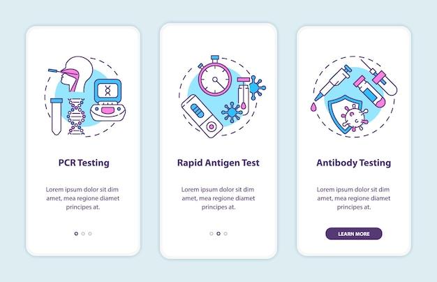 Écran De La Page De L'application Mobile D'intégration Des Types De Tests Covid Avec Illustrations De Concepts Vecteur Premium