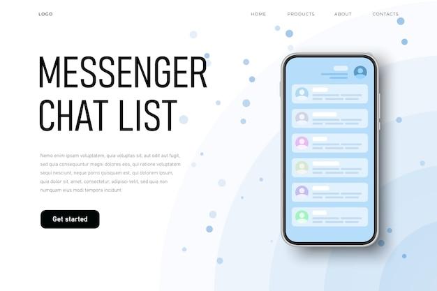 Écran Parlant, Liste De Chat Messenger Avec Liste Des Contacts. Vecteur Premium