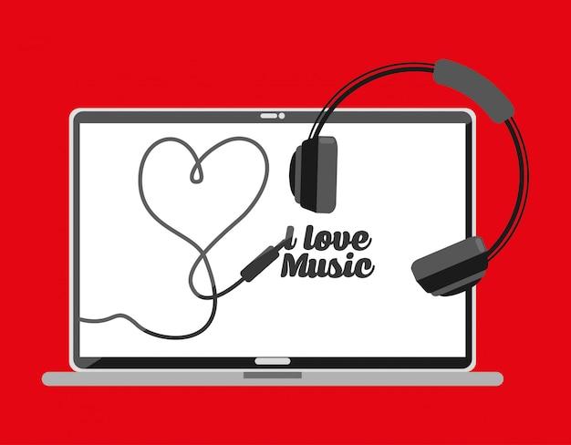 Écran pc avec lettrage j'aime la musique Vecteur gratuit