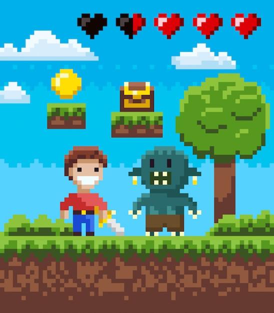 Écran de pixel game, knight hero et geek vector Vecteur Premium