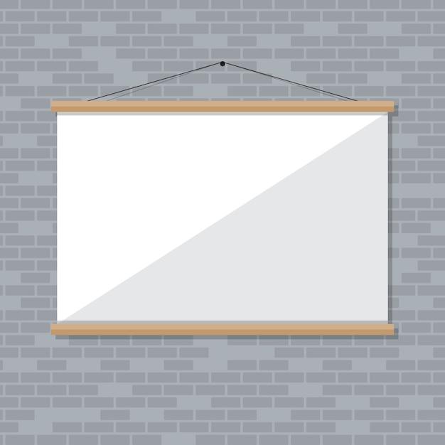 Écran De Projection Sur Mur De Briques Vecteur Premium
