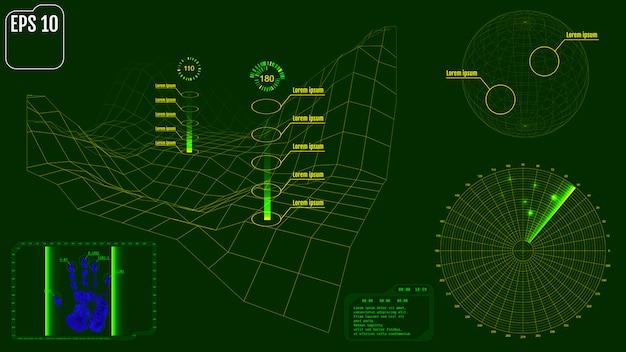 Écran radar avec planète, carte, cibles et interface utilisateur futuriste Vecteur Premium