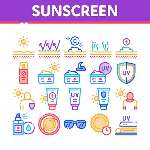 Écran solaire collection elements icons set Vecteur Premium