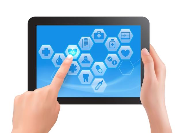 Écran Tactile à Deux Mains De Tablette Avec Des Icônes Médicales. Vecteur Premium