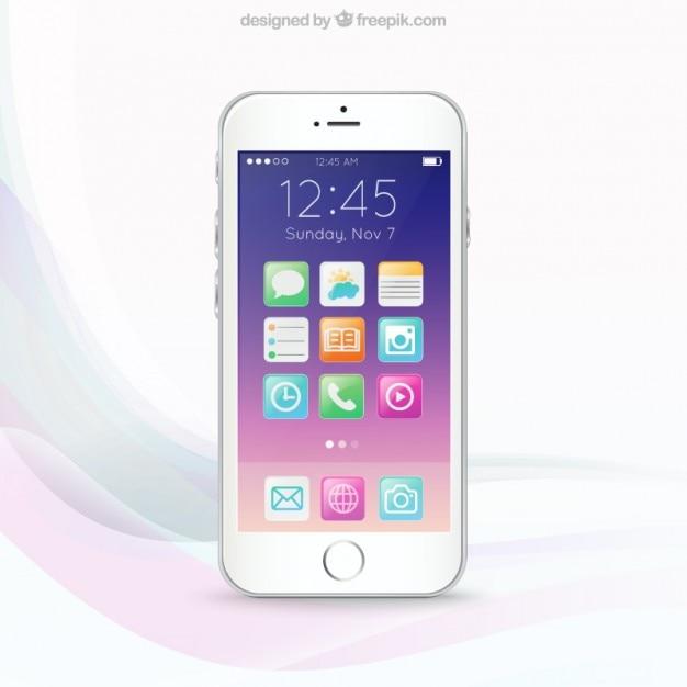 Écran de téléphone mobile colorful Vecteur gratuit