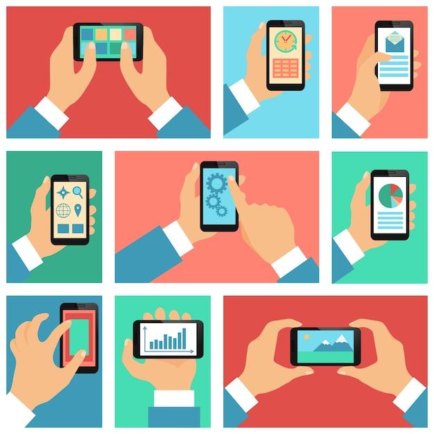 Écran de téléphone mobile, les fonctions Vecteur gratuit