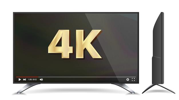 Écran de télévision 4k Vecteur Premium