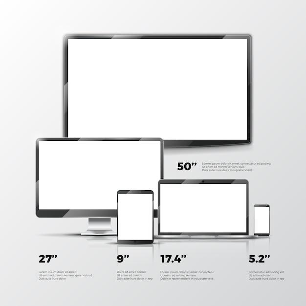 Écran de télévision vide, moniteur lcd, ordinateur portable, tablette, maquettes de smartphone isolé sur blanc arr.plans Vecteur Premium