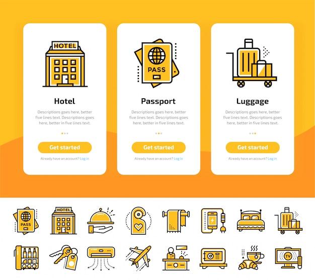 Écrans D'application D'intégration Du Jeu D'icônes De Services Hôteliers Vecteur Premium