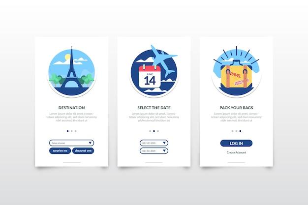 Écrans De L'application D'intégration De Voyage Vecteur gratuit