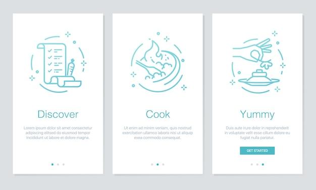 Écrans d'application de nourriture et de recettes d'embarquement. Vecteur Premium