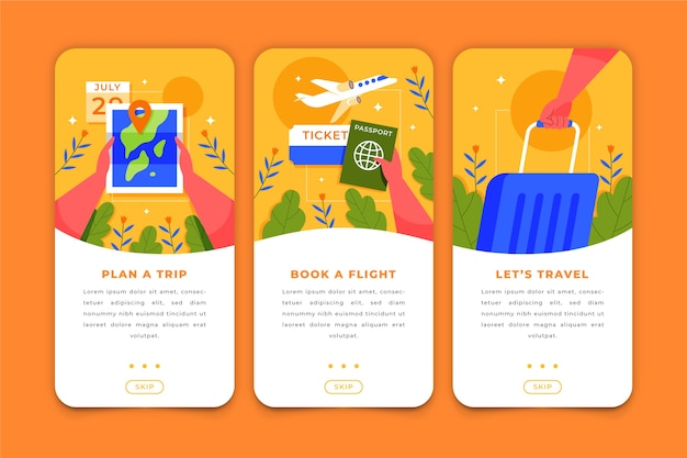 Écrans De L'application De Voyage Pour Téléphone Mobile Vecteur gratuit