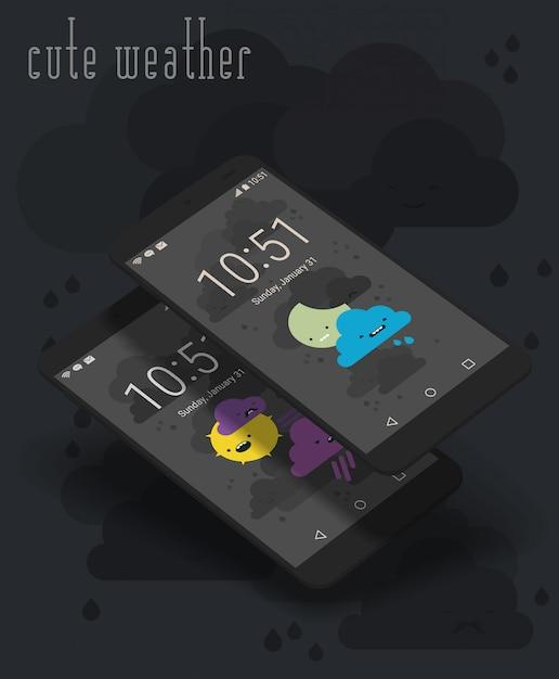 Écrans d'applications mobiles mignonnes sur des maquettes de smartphone 3d Vecteur Premium