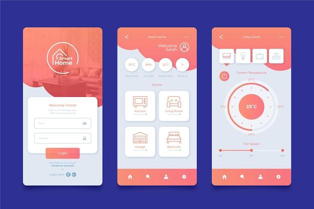 Écrans D'applications Smart Home Vecteur Premium