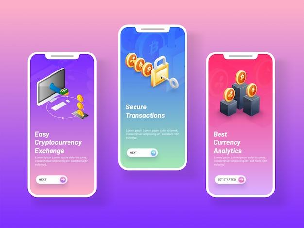 Écrans de démarrage mobiles avec écran de site web ico. Vecteur Premium